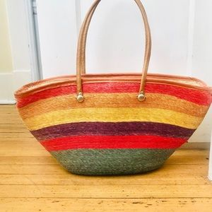 Handbags - Rainbow Striped Woven Basket Tote Bag